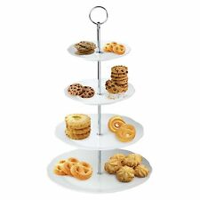 4 Layer Ceramic White Round Flower Serving Display Cake Platter Food Rack Stand