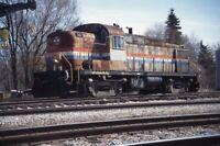 AMTRAK Railroad Train Locomotive 106 BELLEVUE OH Original 1997 Photo Slide