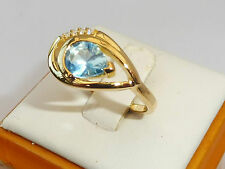 Ladies 18Ct Yellow Gold on Sterling 925 Silver 1.5CT Blue Topaz & Sapphire Ring