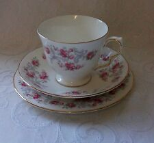 ROYAL OSBORNE VINTAGE BONE CHINA AFTERNOON TEA TRIO LITTLE PINK ROSES