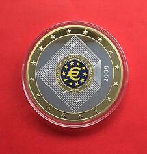 MEDAILLE EURO GEANT 2009 en CUIVRE PLAQUE OR et ARGENT.
