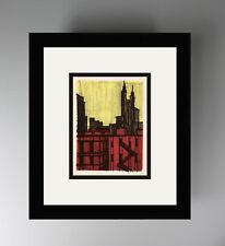 "WOW 1967 Bernard BUFFET Color Lithograph ""Red District New York City"" FRAMED COA"