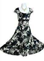 Per Una M&S dress 14 Grey blue Floral Cotton empire line flared midi summer VGC