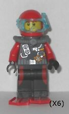 LEGO - Deep Sea Explorers - Scuba Diver, Male w/ Red Flippers (X6) - Minifigures