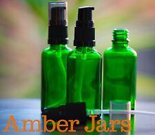 4 x 50ml Glass Green Bottles with Gel/ Serum Pump. DIY Gels, liquid soap