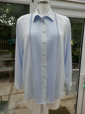 LADIES DESIGNER SHIRT BY HEATHER VALLEY SIZE 14 LOVELY DECO FRONT IN PALE BLUE