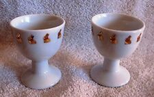 LIKE-NEW - SET OF 2 - BEAUTIFUL - GOLD BUNNY RABBIT ON PORCELAIN EGG CUPS