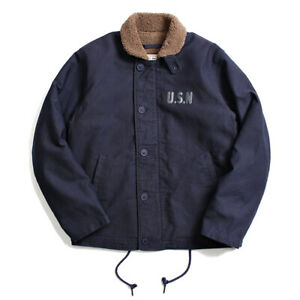 Vintage Navy N-1 Deck Jacket USN Men's Cotton Bomber Jacket Coats Fleece Parka