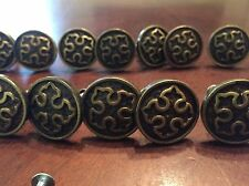 SET LOT OF 34 Vintage Bronze KITCHEN HARDWARE CABINET DRAWER PULLS KNOBS Cross