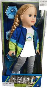 ⛑NIB seaWorld rescue 18 inch doll blonde hair blue eyes,  American Doll
