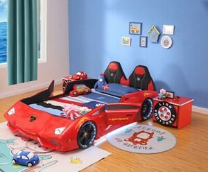 Single bed / Kids Race Car bed with leather seat and Music LED light open door