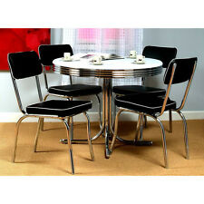 Dining Set Repro 50s 5 Piece Vintage Table 4 Chairs Chrome Kitchen Dinette Black