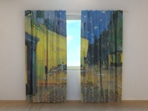 Curtain Living Room Art Vincent van Gogh Terrace of the Cafe Printed Wellmira 3D