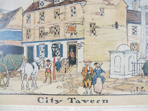 Antique 1909 Robert Smith Ale Ad City Tavern Lithograph Print 2nd of 4 yqz