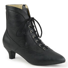 """2"""" Black Victorian Steampunk Ankle Low Boots Drag Trans Shoes size 12 13 14 15"""