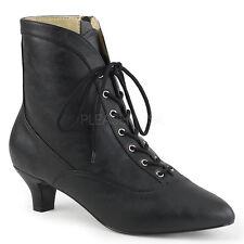 Black Vintage Steampunk Granny Ankle Boots Womans Costume Shoes size 9 10 11 12