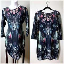 River Island ASOS Green Geometric Tropical Bodycon Midi Dress Size 12 Large