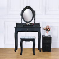 3 Drawer Vanity Table Set Dressing Table with Cushioned Stool Makeup Table Black