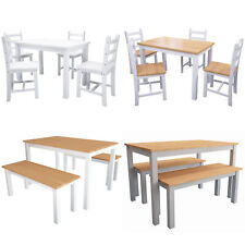 Pine Wood Table and Chairs Benches Set Dining Room Garden Kitchen Home Furniture