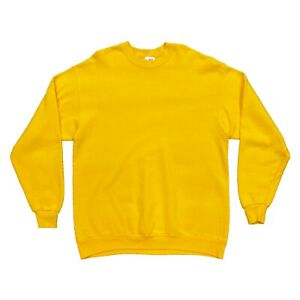 Screen Stars Blank Yellow Crew Neck Sweatshirt   Vintage 90s Retro Jumper XL VTG