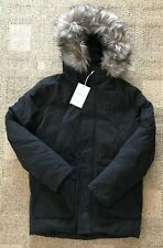 American Eagle AEO Mens Black Expedition Parka Coat Size Small Faux Fur
