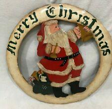 "Vintage Hand Cut / Painted Folk Art Metal Christmas Santa Wreath  Sign 15"" X 15"""