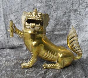 Antique Chinese brass Foo Dog Incense Burner. 1900. ( 5 ½ inch )