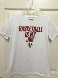 Boy's Under Armour HeatGear Loose Fit White Basketball Athletic Top Shirt Medium