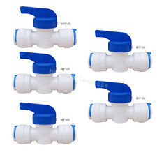 "1/4"" OD Ball Valve Quick Connect Push In to Connect Water Tube Fitting Set Of 5"