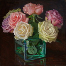 Original oil painting a day still life realism roses flower 8x8 in, Youqing Wang