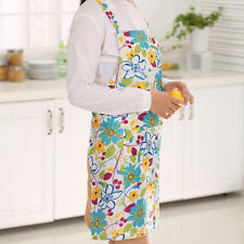 Women Restaurant Home Kitchen Cooking Dress Apron Bib Floral Pattern Pinafore Y