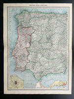 Antique Map Of Western Spain & Portugal 1903