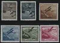 Liechtenstein - 1930 - Scott # C1 thru C6 - Complete Set - Mint OG Light Hinge