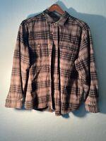 Eddie Bauer Mens Plaid Flannel Size XL Gray Long Sleeve Button Front Cotton