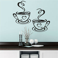 2 Coffee Cups Kitchen Wall Stickers Cafe Vinyl Art Decals Pub Cafe Home Decals