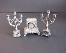 Antique Dollhouse Miniature Candelabra & Mantel Clock Set