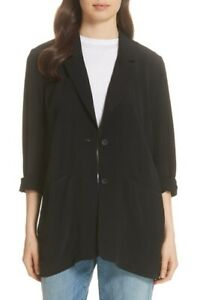 EILEEN FISHER Large Black Long Notch Collar Jacket F8GHT-J4843M NWT Retail $298