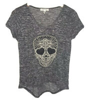Aeropostale XS Top Skull Embroidered Knit Rayon Black White Short Sleeve Shirt