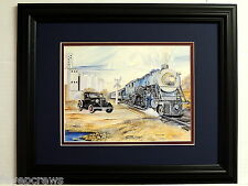 OLD TRAIN PICTURE OLD 1935 TRUCK MATTED FRAMED 11X14