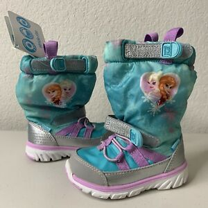 Disney Stride Rite Frozen Made 2 Play Insulted Winter Boots - Girls Kid Size 4.5