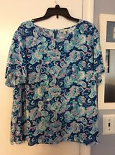 NEW! Ladies Talbot's ~ Beautiful Hyannis Paisley Top, 100% Rayon ~ Blue, Size 3X
