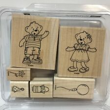 Stampin Up Build A Bear Workshop Beary Best Friends Rubber Stamp Set Boy Girl WM