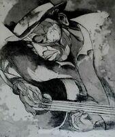 """JACK BILANDER SIGNED ETCHING OF MUSICIAN TITLED """"FOLKSINGER"""""""