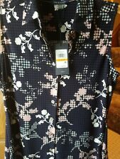 NWT Tommy Hilfiger Women's Small Navy Blue Floral Sleeveless Blouse $49