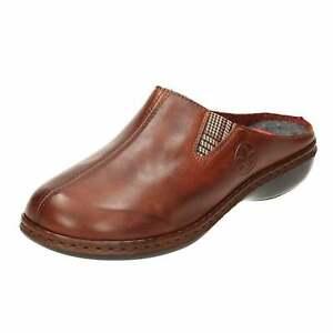 Rieker Brown Leather Slipper Mule 659A8-25 Clog House Shoe Wedge Womens Wedge
