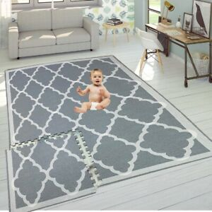 6PC Trellis Design Grey Kids Play Mat Living Room playroom NonSlip Soft Foam Rug