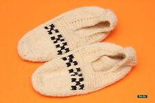 Handgefertigt Gestrickt - 100% Lamm Wolle Socken Hausschuhe - Unique - Größe