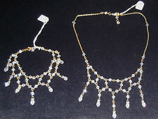 24ct GOLD CLAD CRYSTAL NECKLACE & BRACELET SET, BRAND NEW, handcrafted,AUSTRALIA