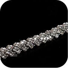 18k white gold gp sparkling simulated diamond roma bracelet link chain 170mm