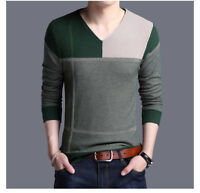 Mens Slim Fit Knitted Cardigan Warm Pullover V-neck Coat Fashion Casual Sweaters